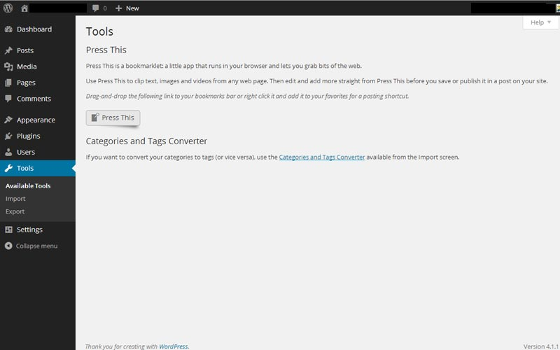 WordPress Available Tools